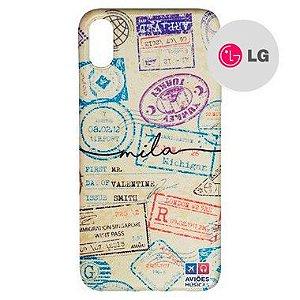 Capa para Smartphone Passaporte Carimbado 1 Personalizável - LG Aviões e Músicas