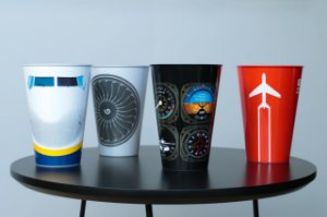 Kit com quatro copos - Aviões e Músicas