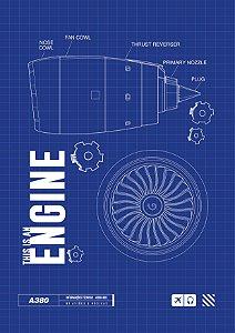 Pôster Motor Turbo Fan Azul Sem Moldura Aviões e Músicas
