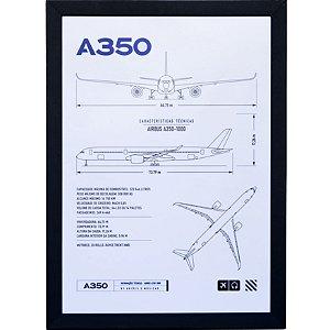 Pôster A350 Aviões e Músicas Com Moldura