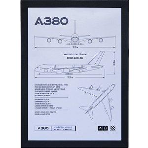 Pôster A380 Aviões e Músicas Com Moldura