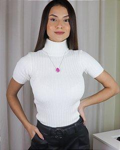 Tricot Gola alta - Manga curta - branco