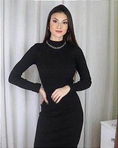 Vestido midi manga longa - tricot - preto