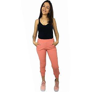 Calça  Moletom Feminina  Jogger 3D Com Bolsos Laterais Cereja Rosa
