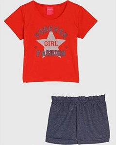Conjunto Blusa e Shorts Forever Girl Feminino Kely & Kety