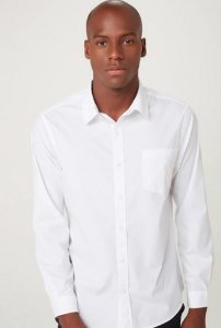 Camisa Básica Manga Longa Branca Hering