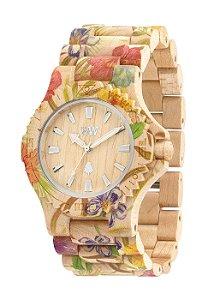 Relógio de MADEIRA - DATE FLOWER BEIGE