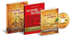 (14% de Desconto) Pacote com 3 produtos: Livro Curso de Desenho + Livro Animação + DVD Caricaturas
