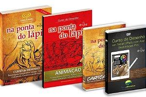 Pacotão c/ 4 produtos: Livro Curso de Desenho + Livro Animação + DVD Caricaturas + DVD Desenho e Pintura em Tablets