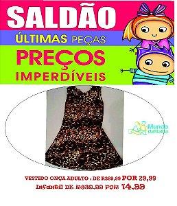 Vestido Neoprene Animal Print Onça - Adulto e Infantil