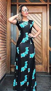 Vestido Detalhe Plus - Estampa Black Tiffany Roses