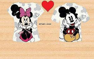 Kit Camisetas Casal Mickey, Bela e a Fera, Shrek , Pato Donalds ou Smurfs