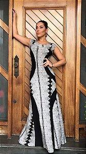 Vestido Detalhe - Estampa Arabescos em Renda 2017