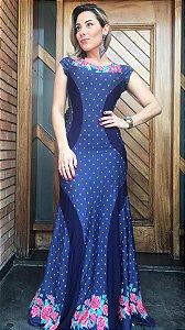 Vestido Detalhe - Mini Flowers Preto ou Azul