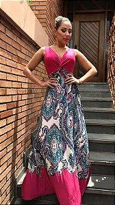 Vestido Cruzado  Boho Pink ou Azul