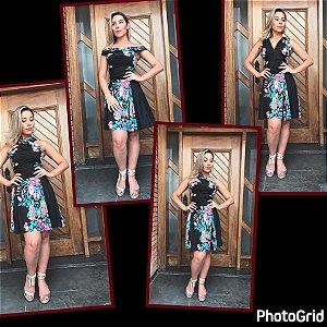 Vestido Multiuso Curto - Estampa Black Garden
