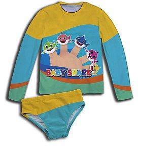 Kit de Proteção U.V - Blusa Proteção UV  BABY SHARK com sunga ou biquini