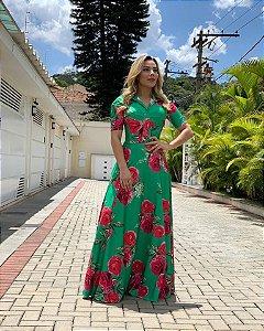 Vestido Samara - Verde Bandeira com Rosas