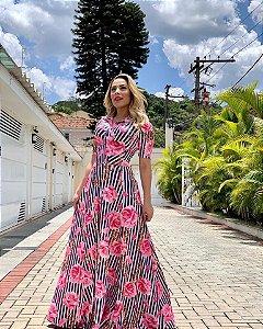 Vestido Samara - Listras e Rosas