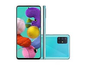 "Smartphone Samsung Galaxy A51, SM-A515F, Android 10.0, Dual Chip, Câmera Quádrupla 48MP(Principal)+12MP(Ultra Wide)+5MP(Macro)+5MP(Profundidade), Frontal 32 MP, 6.5"", 128GB, RAM 4GB, Rede 4G Azul SM-A515FZBRZTO"