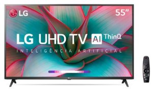 "Smart TV LED 55"" UHD 4K LG 55UN7310 Bluetooth, Wi-Fi, HDR, Inteligência Artificial ThinQ AI, Controle Smart Magic, Google Assistente, Alexa"
