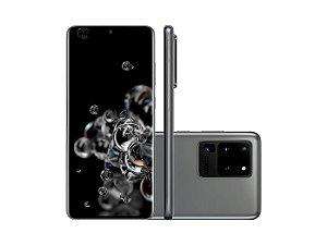 """Smartphone Samsung S20 ULTRA G988, Android 10.0, Dual Chip, Processador Octa Core 2.73 GHz, Câmera Quadrupla traseira 108MP+48MP+12MP + TOF e Frontal 40 MP , Tela 6.9 """", Memória 128 GB e Expansível 1 TB, RAM 16GB, Rede 4G + WiFi. Cinza"""