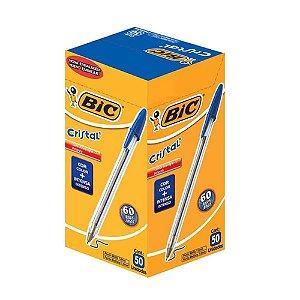 Caneta Esferográfica Azul caixa 50 unidades Bic Cristal