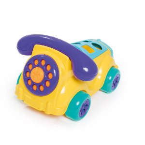 Carrinho Infantil Cad Fone Amarelo e Azul 612 - Calesita