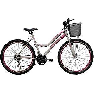 Bicicleta Aro 26 Mtb 18 Marchas Musa Feminina com Cestão Branca e Rosa - Athor