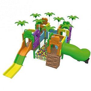 Playground Mundo dos Fofossauros (Escorrega, Túnel e Rampa, Piscina de Bolinha) 1022.1 - Xalingo