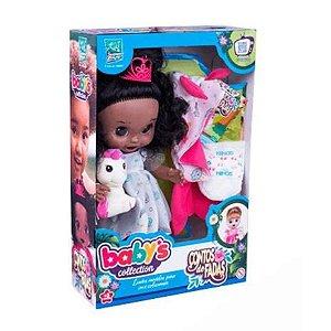 Boneca Babys Collection Contos de Fadas Negra com Acessórios 384 - Super Toys