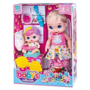 Boneca Babys Collection Papinha Sapeca 407 - Super Toys