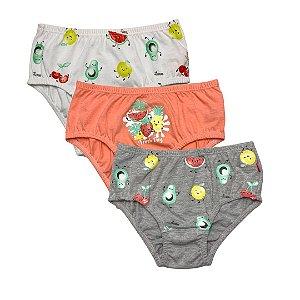 Ref: 0361N Kit Infantil c/3 Calcinhas Perna e Cintura Embutida