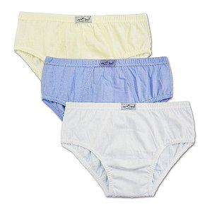 Ref 0052N Kit c/ 3 peças. Cueca infantil 100% algodão cores basicas.
