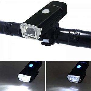 Farol Lanterna Recarregável Usb Para Bike Tática Foco Luz