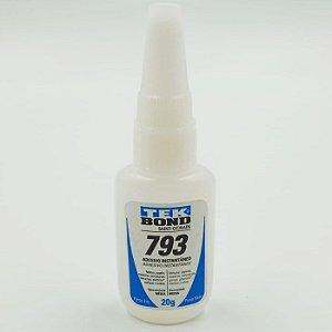 Adesivo Instantâneo 793 com 20g e Bico Anti Entupimento - TEKBOND