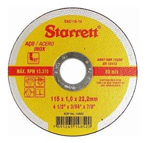 Disco Abrasivo de Corte 115 x 1,0 x 22,2mm - STARRETT