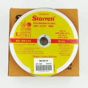 Caixa com 48 Disco Abrasivo de Corte 178 x 1,6 x 22,2mm - STARRETT