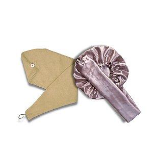 Kit Pós-Banho (Touca Difusora + Toalha Turbante de Microfibra)