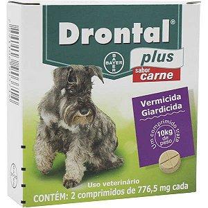 Vermífugo Bayer Drontal Plus Sabor Carne - 2 comprimidos Cães 10 Kg