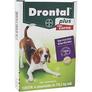 Vermífugo Bayer Drontal Plus Sabor Carne - 4 comprimidos Cães 10 Kg