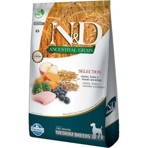 Ração Farmina N&D Ancestral Grain Selection Carnes e Frutas para Cães Adultos Raças Médias
