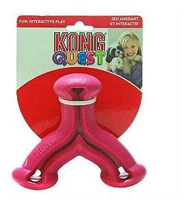 Brinquedo Interativo Kong Quest Wishbone com Dispenser para Petisco – Rosa
