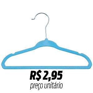 Cabide Veludo Bebê/Infantil Slim 6610 Azul 30cm caixa c/ 200pçs