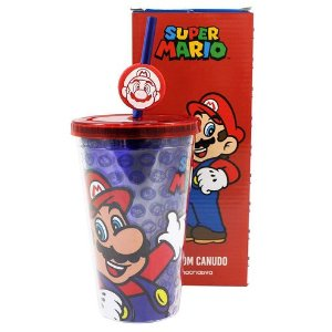 Copo Canudo Pingente Super Mario