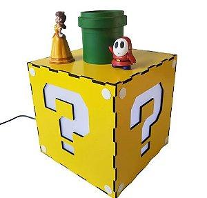 Luminária Abajur Bloco Interrogação Super Mario