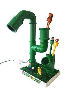 Luminária Abajur Super Mario - Tubo PVC - Base com Grama Sintética