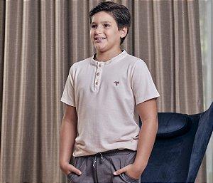 Camisa Teenkis Menino Cor  Rosê Com Detalhe Jeans na Gola