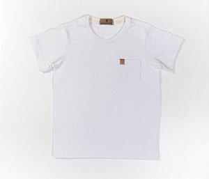 Camisa Infantil Gola Careca Malha com cheiro cor Branco