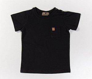 Camisa bebê Gola Careca Malha com cheiro preta